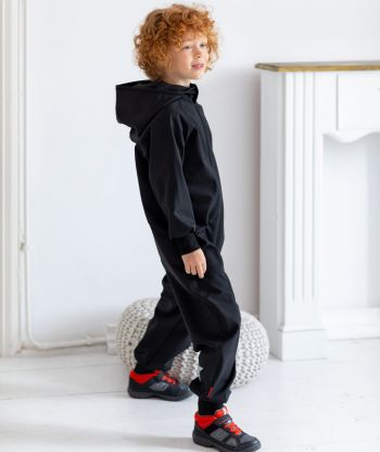 Waterproof Softshell Overall Comfy Black Jumpsuit
