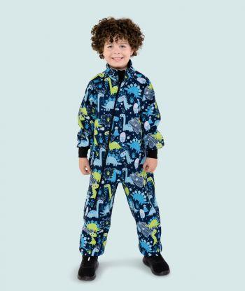Waterproof Softshell Overall Comfy Ultramarine Dino Drawings Bodysuit