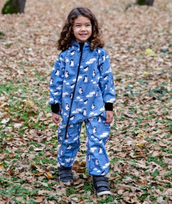 Waterproof Softshell Overall Comfy Penguins Jumpsuit