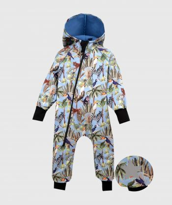 Waterproof Softshell Overall Comfy Blue Wild Animals Jumpsuit