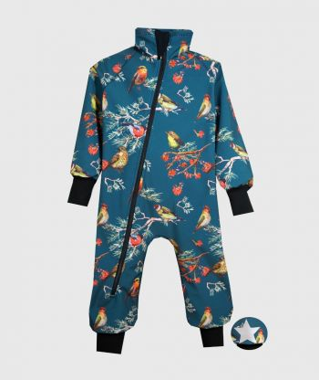 Waterproof Softshell Overall Comfy Dark Cyan Birds Bodysuit