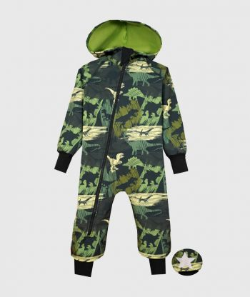 Waterproof Softshell Overall Comfy Dino Shadows Jumpsuit