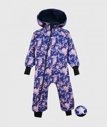 Waterproof Softshell Overall Comfy Flowers And Leaves Jumpsuit
