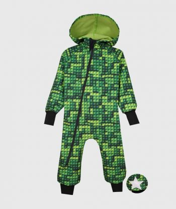 Waterproof Softshell Overall Comfy Lego Bricks Green Jumpsuit