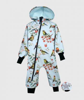 Waterproof Softshell Overall Comfy Light Blue Birds Jumpsuit