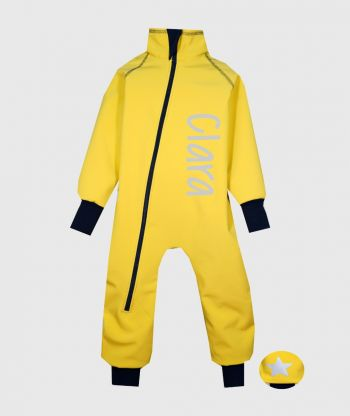 Waterproof Softshell Overall Comfy Mustard Yellow Bodysuit