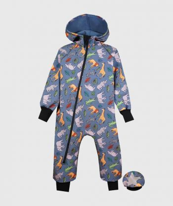 Waterproof Softshell Overall Comfy Savanna Animals Jumpsuit