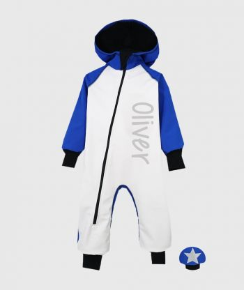 Waterproof Softshell Overall Comfy White/Blue Jumpsuit