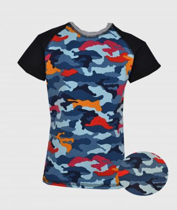 T-shirt Black Camouflage Blue