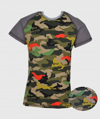 T-shirt Grey Camouflage Green